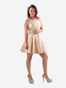 Beige Self Embroidered Halter Neck Dress