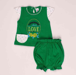 Green Color Top And Bottom Set