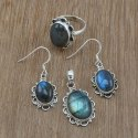 Sterling Silver Nice Rainbow Moonstone Jewelry Beautiful Set
