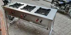 Silver Stainless Steel Burner Range for Hotel