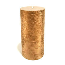 Hand Textured Golden Pillar Candle
