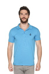 Trendy Men Blue Polo Collar T-Shirt