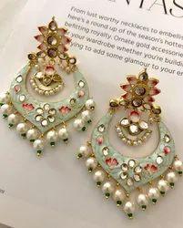 Brass Kundan Meena Chandbalis Earrings