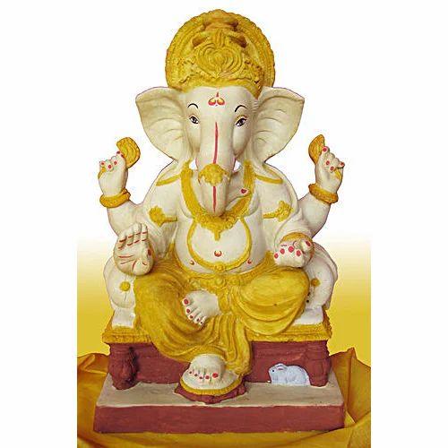 Plaster Of Paris Brown Pop Clay Ganesh Idol