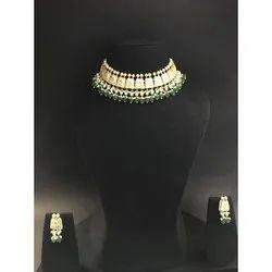 Ladies Gold Natural Uncut Diamond Polki Stone Necklace Set