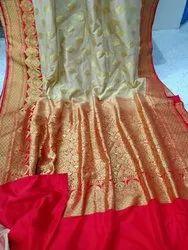 Wedding Wear Banarasi Silk Katan saree with satin border, 6.3 m (with blouse piece)