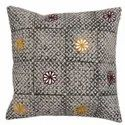 Floral Embroidered Grey Black Cotton Cushion Cover