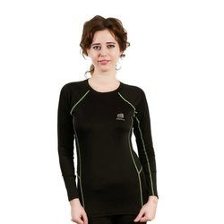 Full Sleeve Round Ladies 4 Way Lycra Sports T Shirt