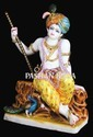White Painted Marble Krishna Sitting Statue, For Worship