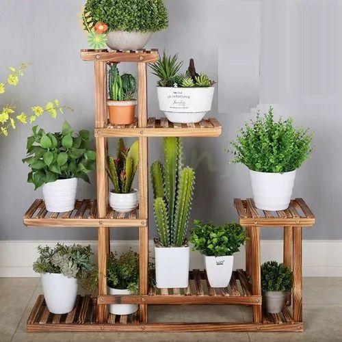 Garden Plant Stand Decorative Wooden Plant Stand Manufacturer From Kundli