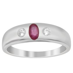 Three Stone Solid Band 925 Sterling Silver Red Ruby White Topaz Stack Ring