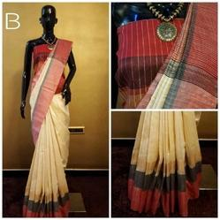 Khadi Cotton Plain Saree, Length: 6.3 m