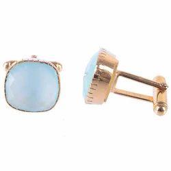 925 Sterling Silver Fashionable Simple Aqua Chalcedony Gemstones Cufflinks