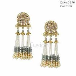 Traditional Designer Tassel Pearl Earrings