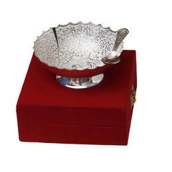 Silver Bowl And Spoon Set
