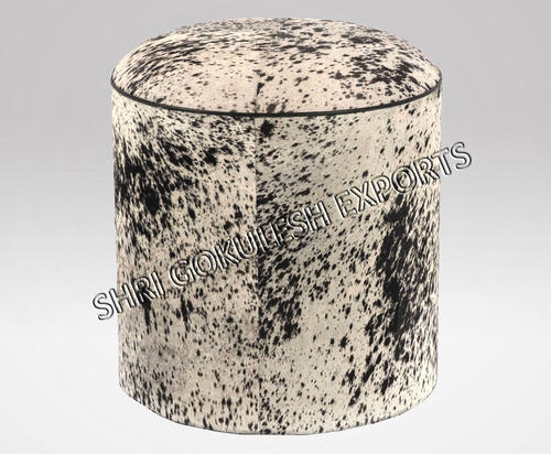 SGE Hair On Leather Poufs