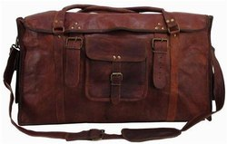 Brown Flap Square Leather Duffel Bag