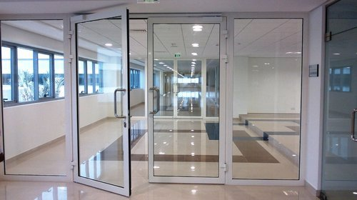 Cold Rolled Steel Glazed Metal Fire Rated Door With Fixed Partition