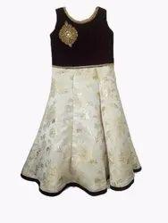 Gold Printed Designer Dress For Girls