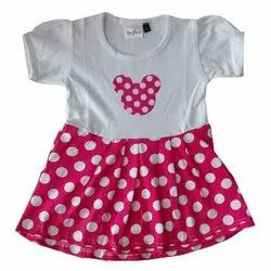 Dotted Casual Wear Girls Frock, Size: 16-34