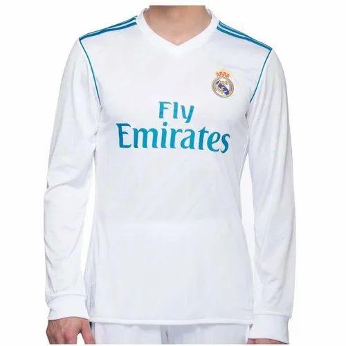 wholesale dealer bc47b 16ef1 White Full Sleeves Navex Real Madrid 2018-19 Full Sleeve ...