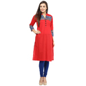 Cotton Red 3/4th Sleeve Printed Kurti, Size: S, M & L