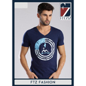 Mens Cotton Navy Blue V Neck T-shirt