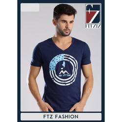 Mens Cotton Navy Blue V Neck T-Shirt