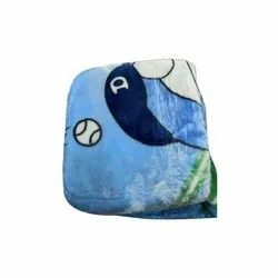Blue Printed Baby Cotton Blanket, 0 - 5 Years