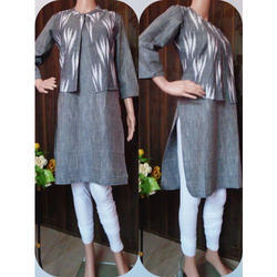 Ladies Cotton Kurta with Jacket, Size: M and L