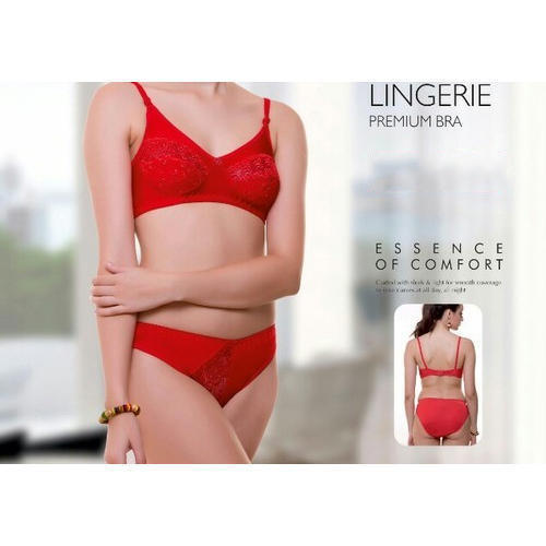 f5c8712ce3f Red Cotton Ladies Bra Panty Set