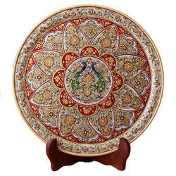 Marble Floral Peacock Plate