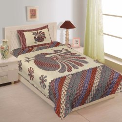 Peacock Print Cotton Bedsheet for Single Bed