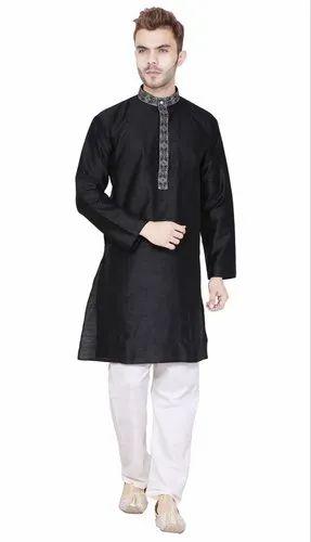 aa2829f55b3 Mens Black Kurta Pajama Long Sleeve Button Down Indian Clothing Fashion Ethnic  Dress