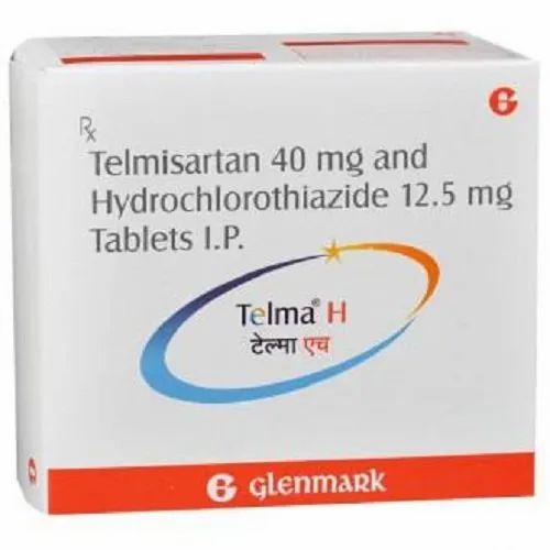 Telmisartan 40 mg Telma- H Tablets, Glenmark Pharmaceuticals Ltd.,  Packaging Size: 1X15, | ID: 4430047848
