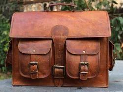 Brown Vintage Goat Leather Messenger Bag