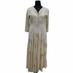 Stitched Party Ladies Cotton Gown, Size: S-XXL