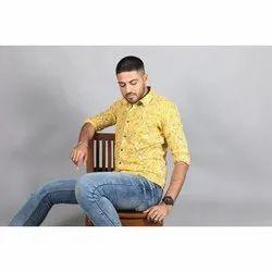 Blockprint Full Slevees Mens Slim Fit Printed Cotton Shirt, Size: S-XXL