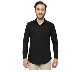 Cotton/Linen Inspire Slim Fit Casual Shirts For Men (Black)