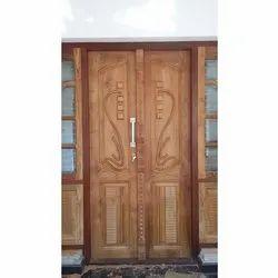 Teak Wood Carved Double Door