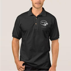 Black Cotton Company Logo Embroidered T Shirt, Packaging Type: Single T Shirt Packing