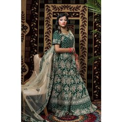 SHEZA Half Sleeves SHE016 Green Bridal Lehenga Choli