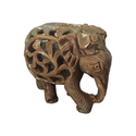 Hard Soapstone Inlay Elephant