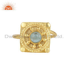 Natural Apatite Gemstone Yellow Gold Plated 925 Silver Designer Ring Jewelry