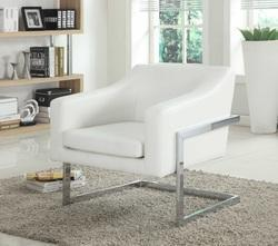 Modern Living Room Chrome Accent Chair (White)