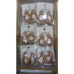Brass Ladies Artificial Golding Earrings