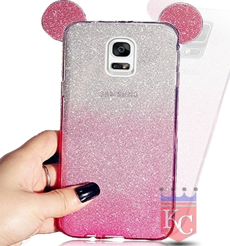 quality design 3ff34 25632 Cute Ears Gradient Glitter 2 In 1 Transparent Soft Back Cover For Galaxy  Note 3 Pink
