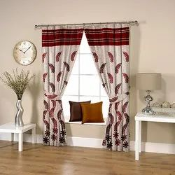Geometrical Weave Red Curtain