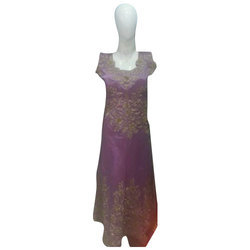 Ladies Round Sleevless Embroidered Gown