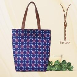 Blue Printed Tote Bags